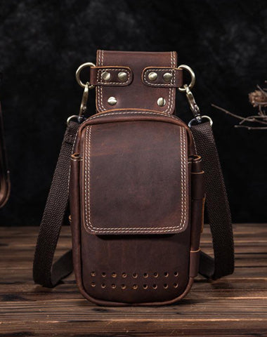 Cool Brown Leather Men's Cell Phone Holster Small Side Bag Mini Messenger Bag For Men