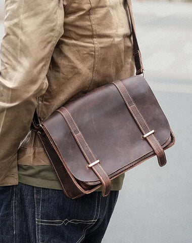 "Cool Brown Leather Mens Casual 10"" Courier Bags Messenger Bag Brown Postman Bag For Men"
