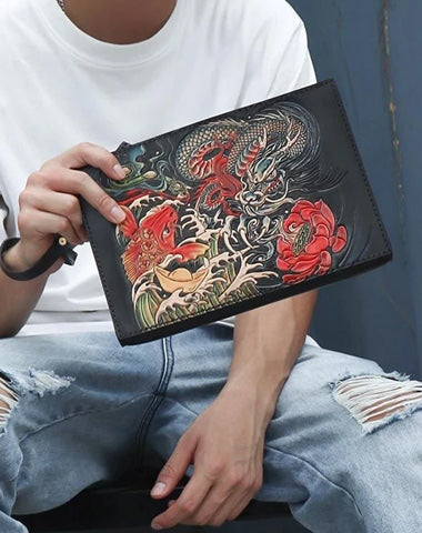 Black Handmade Tooled Leather Carp Chinese Dragon Clutch Wallet Wristlet Bag Clutch Purse For Men