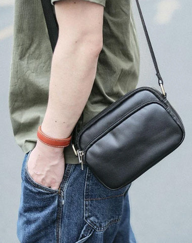 Black Leather Mens Small Courier Bag Messenger Bag Mini Postman Bag For Men