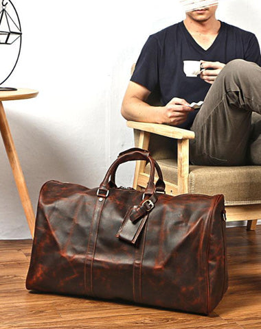Vintage Brown Leather Mens Casual Large Travel Bags Shoulder Weekender Bags Duffle Bag For Men