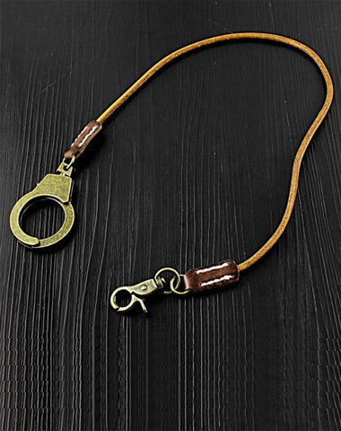 Badass Tan Leather Long Wallet Chain Cool Handcuff Punk Rock Biker Trucker Wallet Chain Trucker Wallet Key Chain for Men