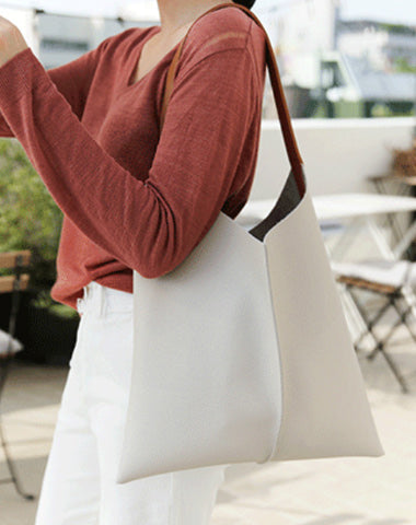 Stylish Unique Womens White Leather Tote Bag Purse Black Shoulder Bag Handbag Green Tote Purse For Women