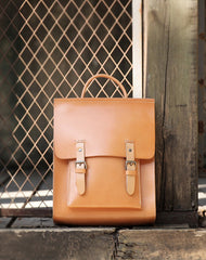 Best Handmade Tan Leather Womens Backpack Tan Womens Satchel School Backpacks