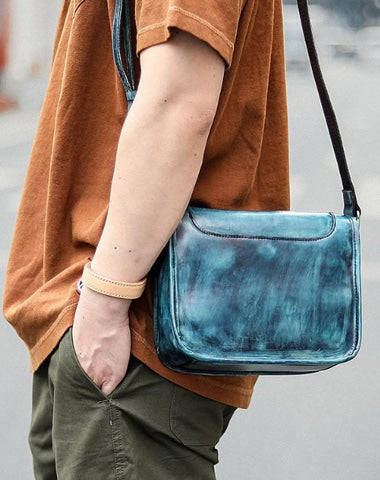 Casual Small Leather Mens Blue Side Bag Postman Bag Blue Messenger Bag For Men