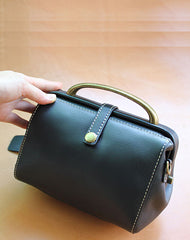 Handmade Womens Black Leather Mini Doctor Handbags Shoulder Purses Black Doctor Purses for Women