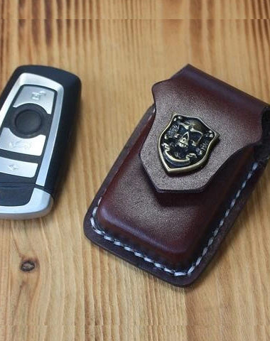 Handmade Black Leather Mens Car Key Case Brown Car Key Holder with Belt Loop/Belt Clip