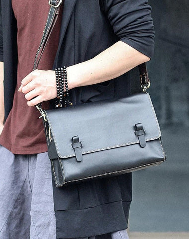 "Cool Black Leather Mens 10"" Postman Bag Small Messenger Bag Black Courier Bags For Men"