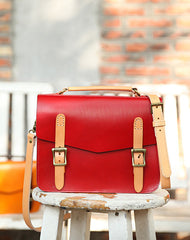 Womens Handmade Red Leather Satchel Handbag Cambridge Structured Satchel Shoulder Purse