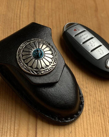 Handmade Black Leather Qashqai X-TRAIL TIIDA Teana Mens Car Key Case NISSAN Car Key Holder