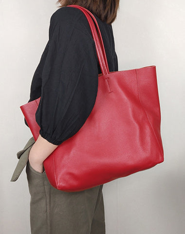 Fashion Womens Red Leather Oversize Tote Bag Red Shoulder Tote Bag Handbag Tote For Women