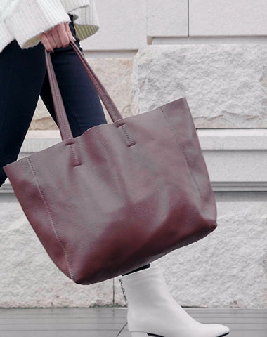 Fashion Womens Coffee Leather Oversize Tote Bag Coffee Shoulder Tote Bag Handbag Tote For Women