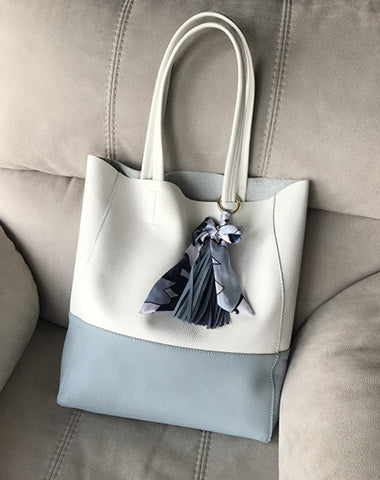 Stylish Womens White Blue Leather Tote Bag Two Colors Tote Purse White Shoulder Tote Shopper For Women