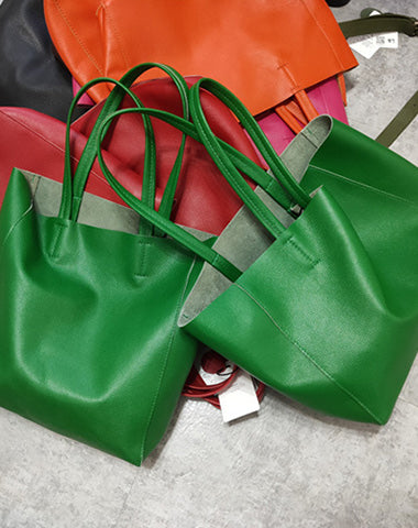 Fashion Genuine Orange Leather Tote Bag Rose Red Tote Purse Green Shoulder Tote Bag Handbag Tote For Women