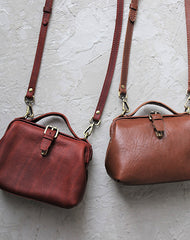 Vintage Womens Brown Leather Small doctor Handbag shoulder doctor bags for women