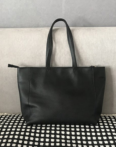 Stylish Womens Black Leather Tote Bag Shoulder Tote Bag Black Tote Purse For Women