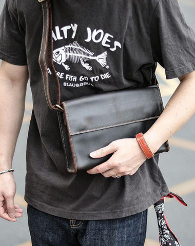 Dark Coffee Leather Mens Casual Small Courier Bag Messenger Bags Amber Postman Bag For Men