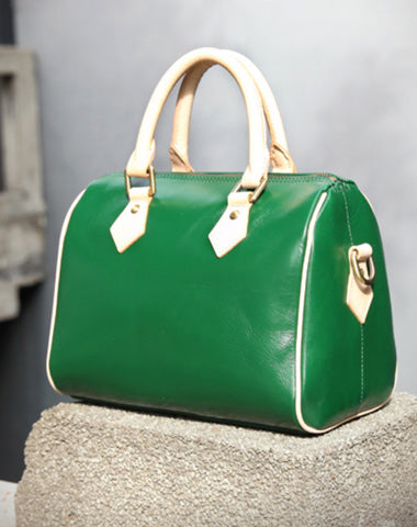 Fashion Womens Green Leather Small Boston Handbag Best Green Leather Boston Purse Side Bag
