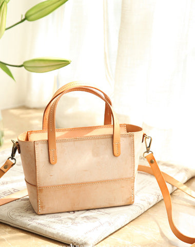 Vintage Womens Beige Leather Handbag Tote Purse Tote Handmade Shopper Side Tote Bag for Men