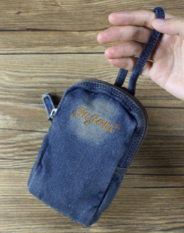 Denim Jean Womens Mens Mobile Bag Wristlet Bag Jean Blue Clutch Purse For Women