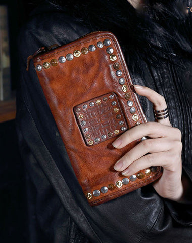 Genuine Leather Mens Cool Long Leather Wallet Biker Wallet Zipper Clutch Wallet for Men