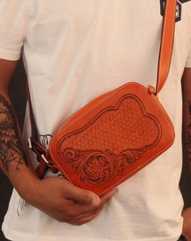 Cool Handmade Floral Tooled Leather Small Postman Bag Messenger Bag Courier Bag For Men