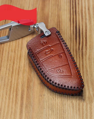 Handmade Brown Leather BMW X5X6 Mens Car Key Case BMW Car Key Holder