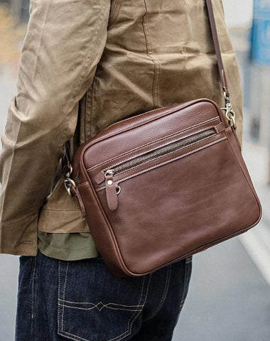 Brown Leather Mens 8 inches Courier Bag Messenger Bag Small Postman Bag For Men