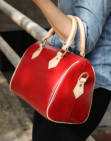 Fashion Womens Red Leather Small Boston Handbag Best Red Leather Boston Purse Side Bag