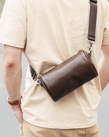 Black Leather Mens Small Casual Bucket Bag Barrel Messenger Bags Brown Postman Bag For Men
