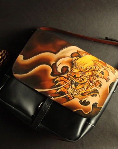 Handmade Black Tooled Chinese Lion Leather Courier Bag Messenger Bag For Men