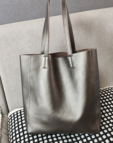 Fashion Womens Silver Leather Oversize Tote Bags Silver Shoulder Tote Bag Handbag Tote For Women