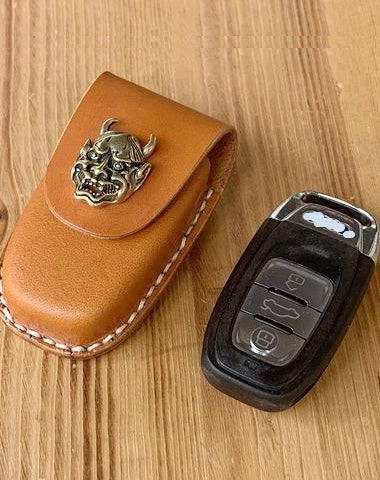 Handmade Brown Leather Audi A468X135 Mens Car Key Case Audi Car Key Holder