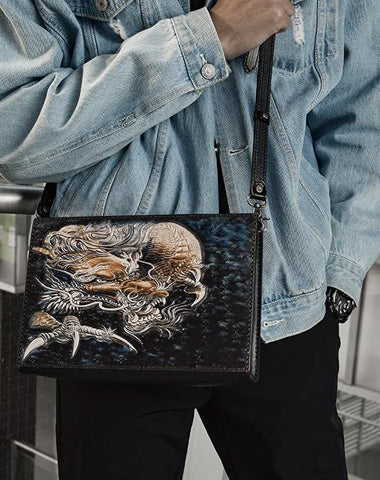 Handmade Black Tooled Chinese Dragon Leather Clutch Wristlet Bag Messenger Bags Side Bag For Men