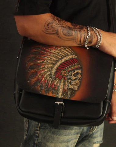Handmade Black Tooled Indian Chief Skull Leather Courier Bag Messenger Bag For Men
