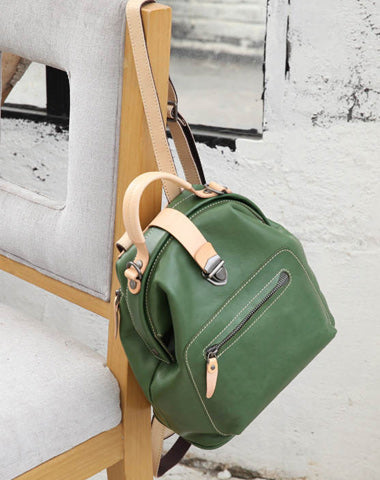 Fashion Handmade Womens Green Leather Backpack Satchel Bag Green School Backpack for Women