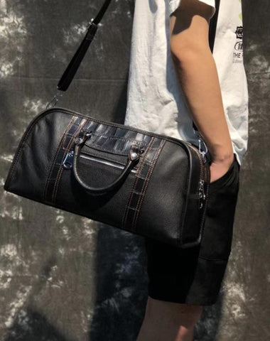 Casual Black Leather Men's 13 inches Overnight Bag Small Travel Bag Luggage Weekender Bag For Men