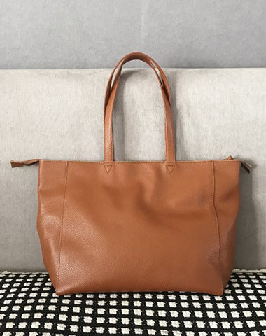 Stylish Womens Brown Leather Tote Bag Shoulder Tote Bag Brown Tote Purse For Women