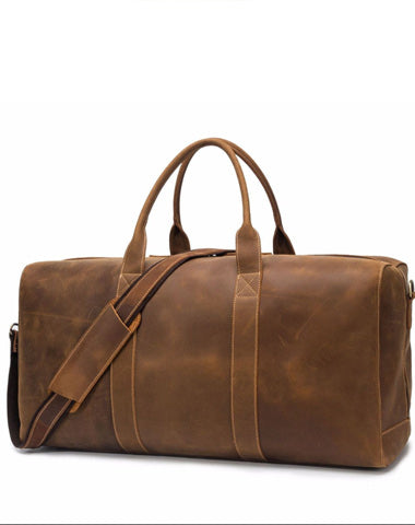 Vintage Brown Leather Men's Travel Bag Overnight Bag Weekender Bag For Men
