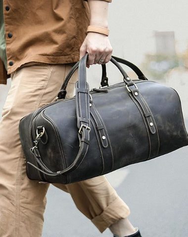 "Dark Brown Leather Mens Casual Large Travel Bag 16"" Shoulder Weekender Bag Duffle Bag For Men"