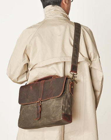 Waxed Canvas Leather Mens 14 inches Messenger Bag Briefcase Courier Side Bag for Men