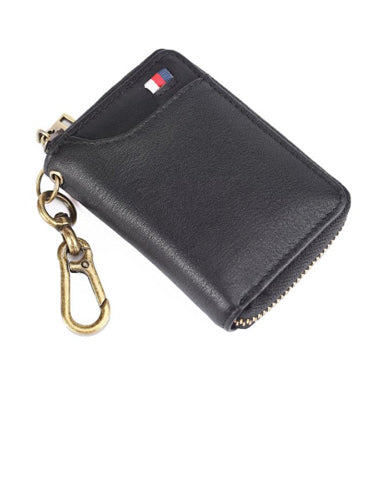Cool Black Leather Men's Zipper Card Holder Card Bifold Small Wallet Key Holder For Men