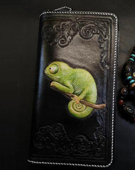 Badass Black Leather Men's Chameleon Biker Wallet Handmade Tooled Zipper Long Wallets For Men