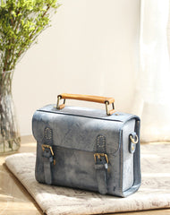 Womens Blue Leather Small Satchel Shoulder Bag Waxed Leather Cambridge Small Satchel Handbag Purse for Women