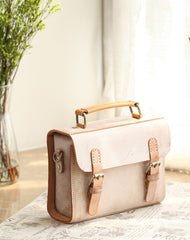 Womens Beige Leather Small Shoulder Satchel Bag Waxed Leather Cambridge Small Satchel Handbag Purse for Women