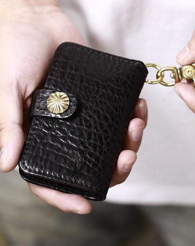 Handmade Black Leather Mens Cool Key Wallet Key Holder Brown Card Holder Car Key Case for Men