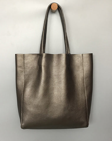 Fashion Womens Bronze Silver Leather Oversize Tote Bags Gold Shoulder Tote Bag Handbag Tote For Women