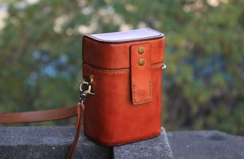 Handmade Brown Leather Mens Small Box Bag Shoulder Bag Messenger Bag for Men