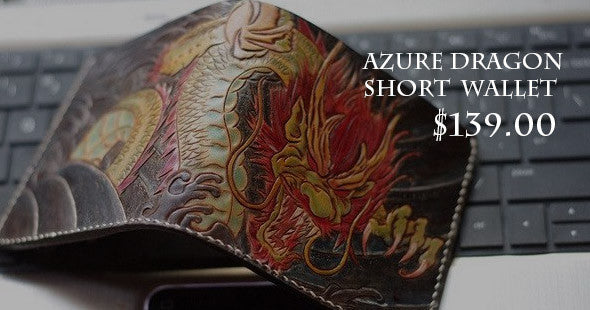 Handmade men wallet vintage hand carved Azure Dragon leather short wallet for men