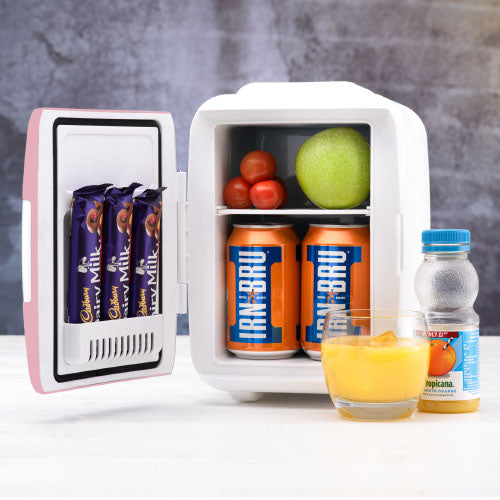 4L snacks and drinks fridge in colour pink